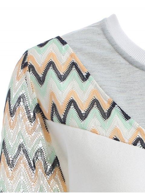 buy See-Through Panelled Sweatshirt - WHITE M Mobile