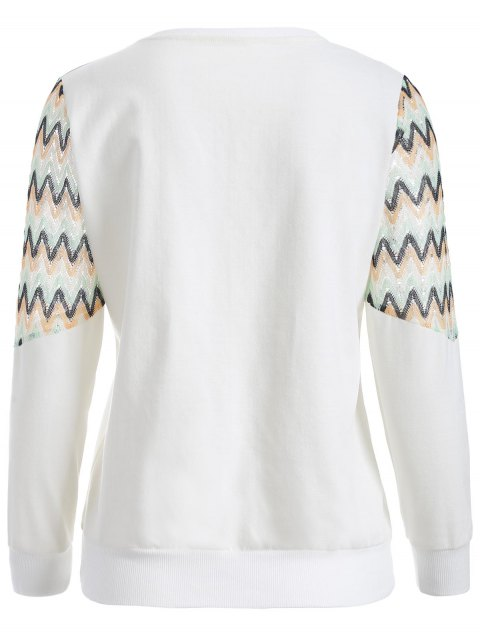 unique See-Through Panelled Sweatshirt - WHITE 2XL Mobile