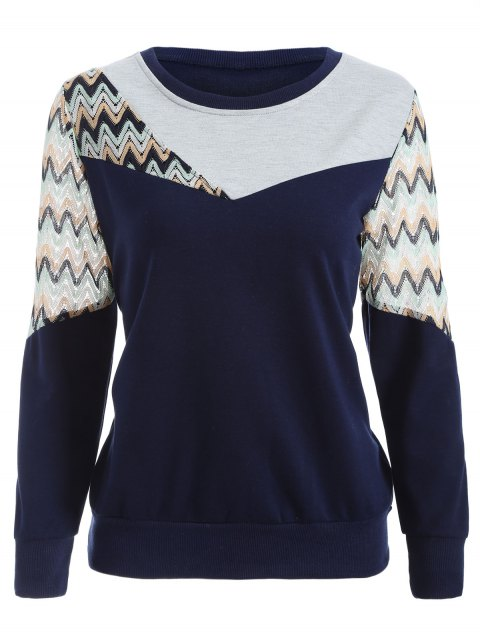 women See-Through Panelled Sweatshirt - PURPLISH BLUE XL Mobile