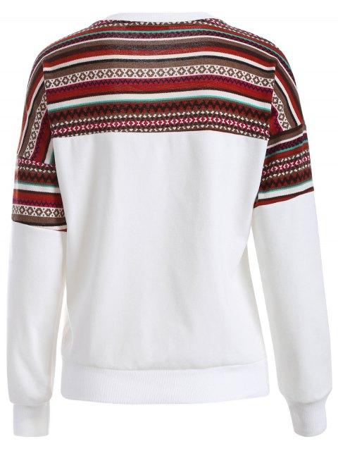 new Tribal Print Pullover Sweatshirt - WHITE M Mobile