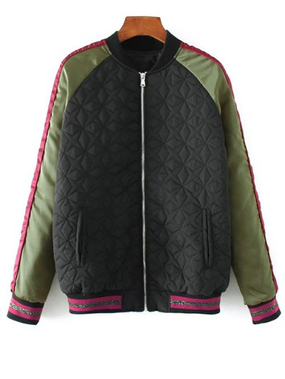 Tiger Embroidered Quilted Souvenir Jacket - Black