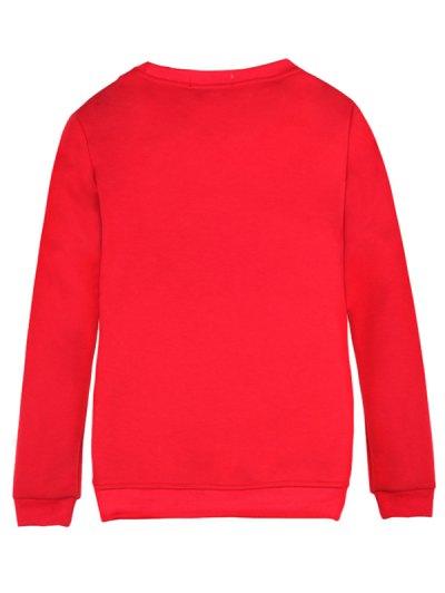 Merry Christmas Fawn Print Sweatshirt - RED XL Mobile