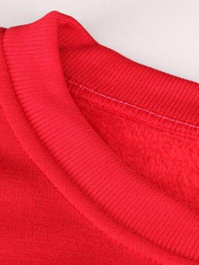 Merry Christmas Fawn Print Sweatshirt - RED M Mobile