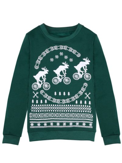 Merry Christmas Fawn Print Sweatshirt - GREEN L Mobile