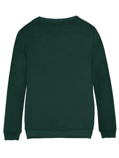 Merry Christmas Fawn Print Sweatshirt - GREEN M Mobile