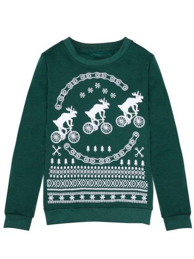 Merry Christmas Fawn Print Sweatshirt - GREEN S Mobile