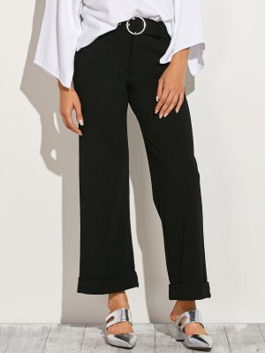 Turn Up Wide Leg Pants - Black
