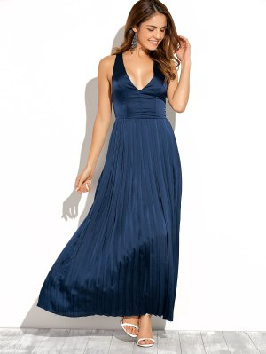 Cut Out Low Cut Maxi Long Prom Dresses - Blue