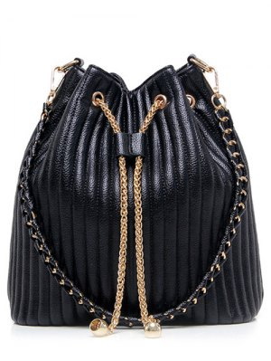 Drawstring Magnetic Closure Chain Shoulder Bag - Black