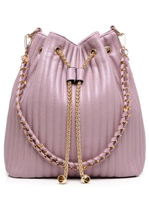 Drawstring Magnetic Closure Chain Shoulder Bag - Pink