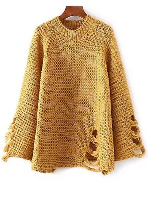 Ripped Chunky Knit Sweater - Ginger