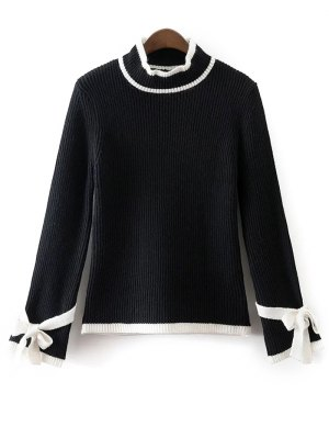 Bowknot Sleeve Mock Neck Jumper - Black