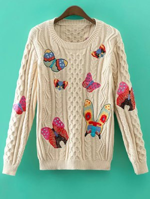 Cable Knit Embroidered Jumper - Khaki