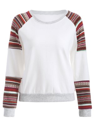 Tribal Print Sleeve Sweatshirt - White