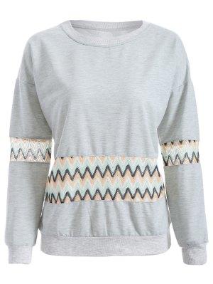 Crochet Panel Sweatshirt - Gray
