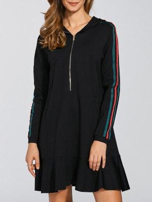Ruffle Hem Hoodie Dress - Black