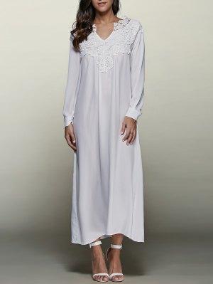 Crochet Trim Maxi Flowing Dress - White