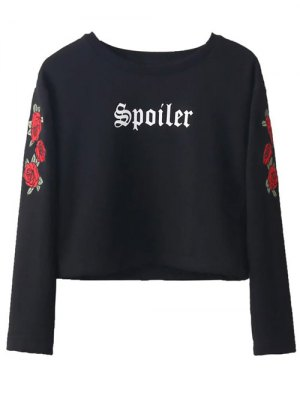 Embrodiered Floral Sudadera Recortada - Negro