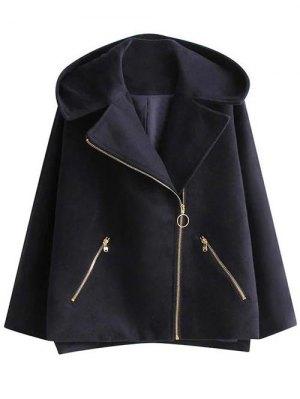 Hooded A Line Wool Blend Coat - Cadetblue