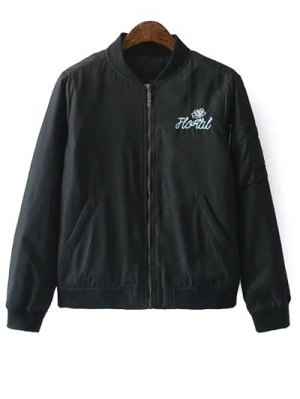 Embroidered Quilted Zip Jacket - Black