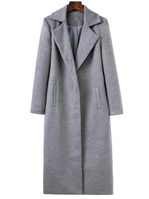 Longline Lapel Collar Cocoon Coat - Gray