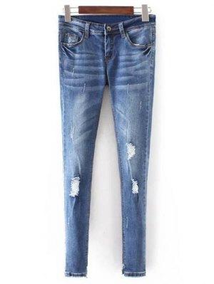 Bleach Wash Flaco Jeans Rotos - Azul