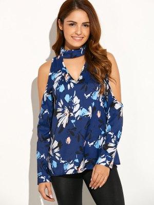 Cold Shoulder High Collar Blouse - Blue