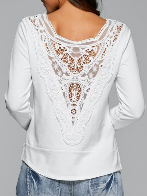 Lace Back Long Sleeve T-Shirt - White