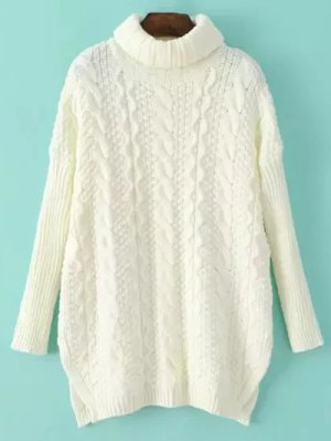 Side Split Turtle Neck Cable Knit Sweater - Off-white