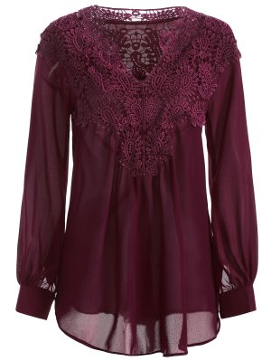 Crochet Floral Long Sleeve Blouse - Wine Red