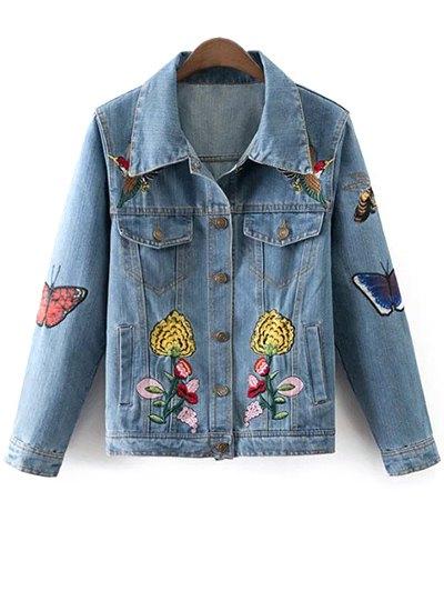 Floral Butterfly Denim Jacket