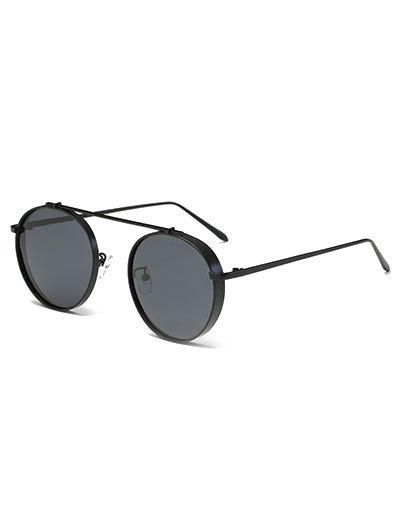 Chunky Frame Crossbar Metal Oval Sunglasses