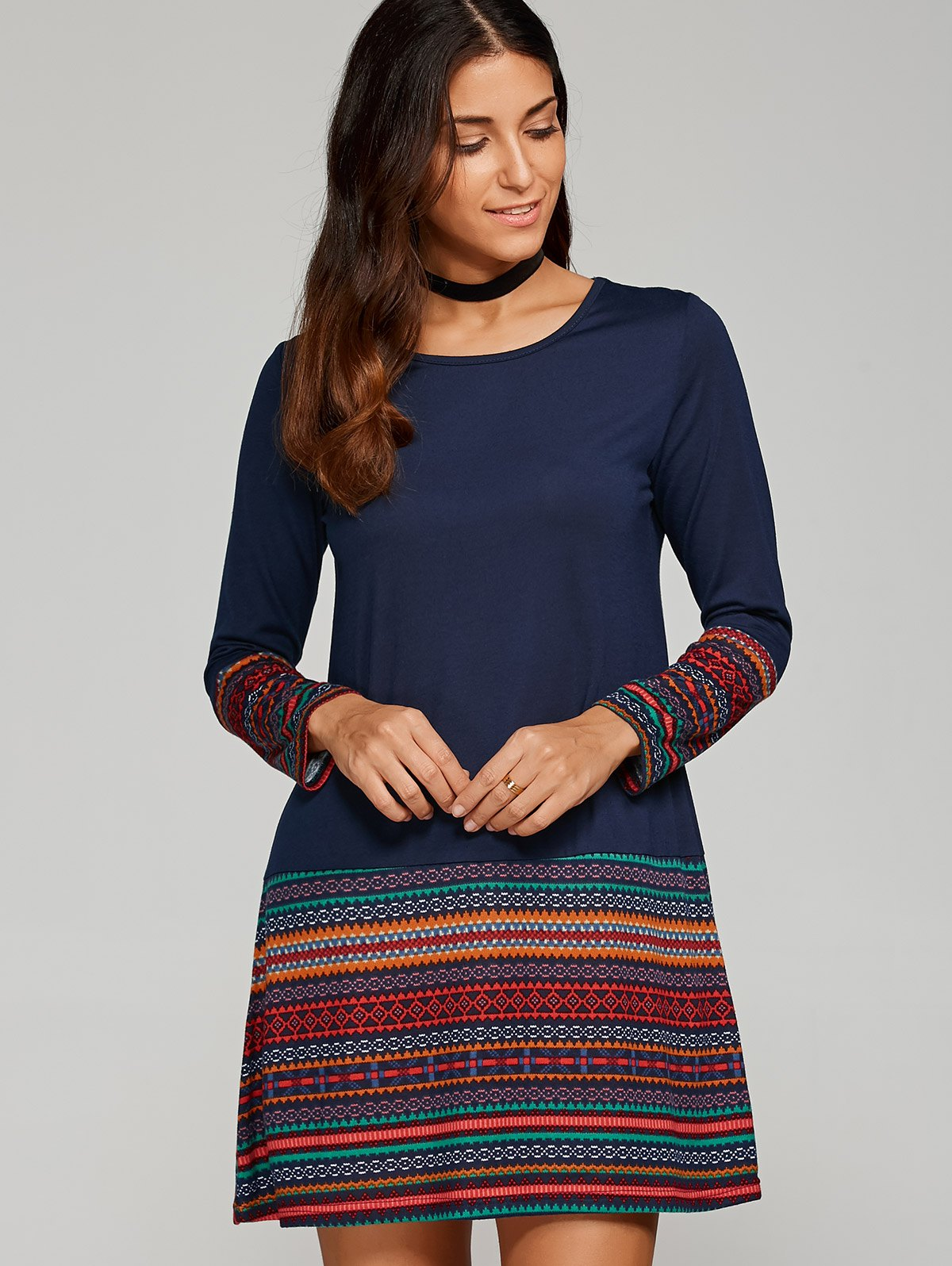 Tribal Print Trim Dress