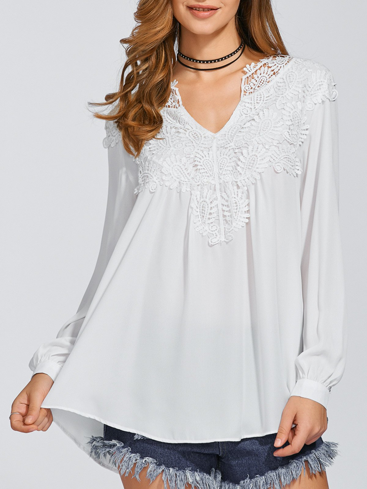 Long Sleeve Crochet Detail Top