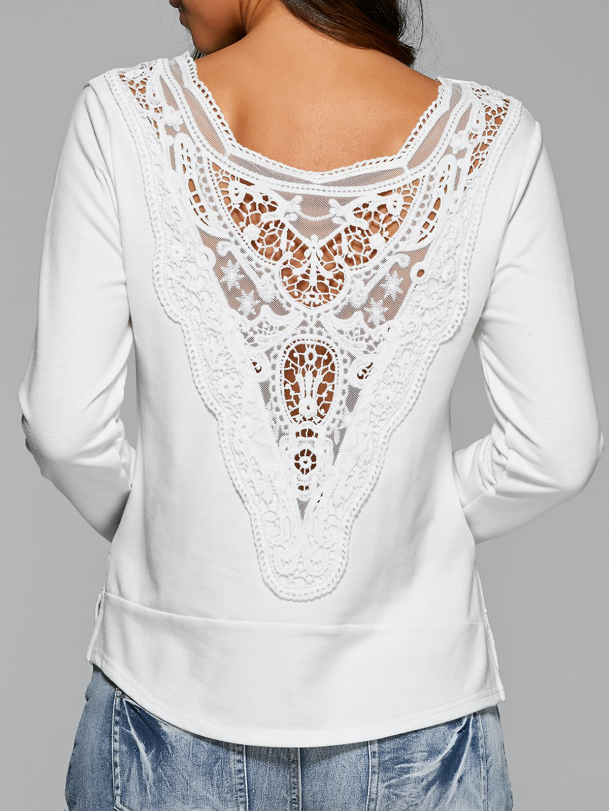 Long Sleeve Lace Back T-Shirt