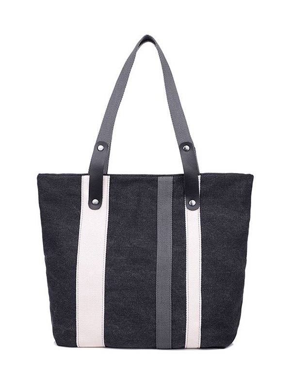 Striped Pattern Colour Spliced Shoulder Bag