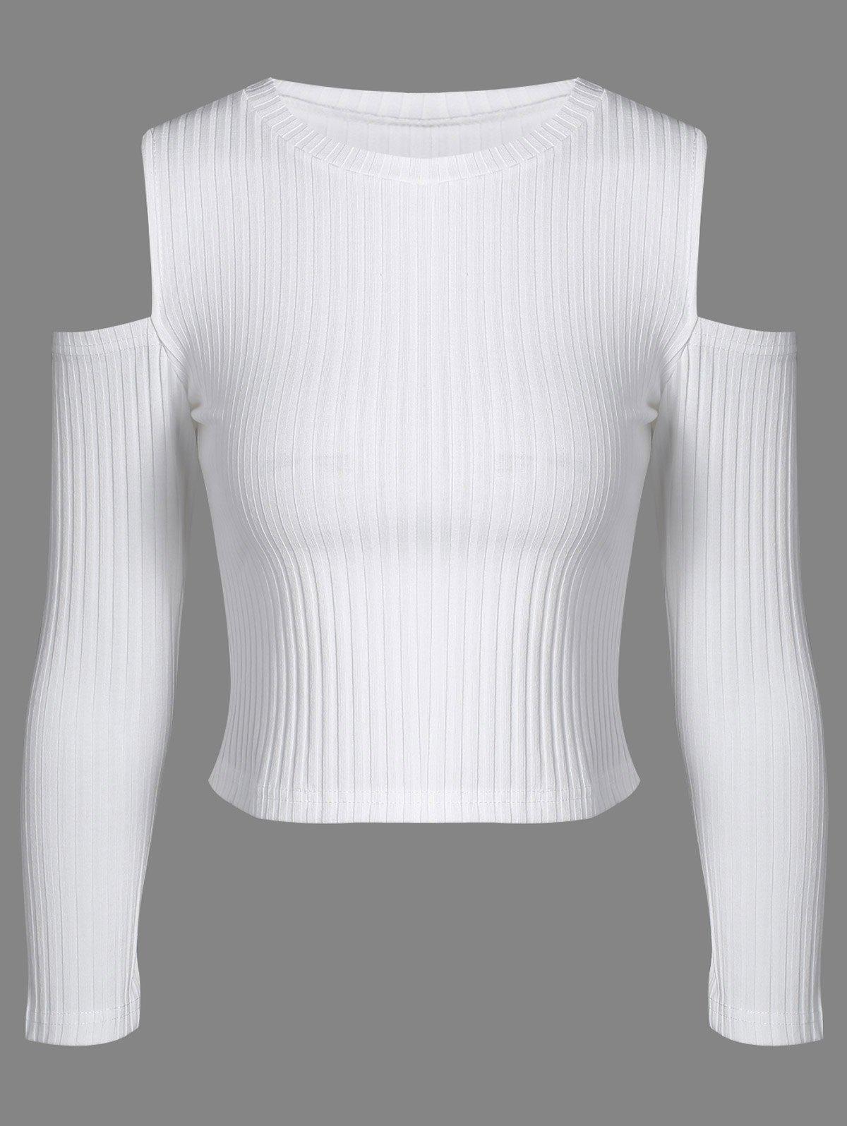 Jewel Neck Cold Shoulder Knitwear