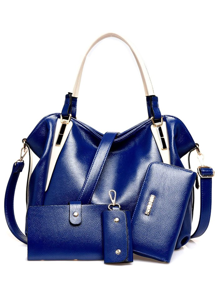 PU Leather Metal Color Spliced Shoulder BagAccessories<br><br><br>Color: BLUE