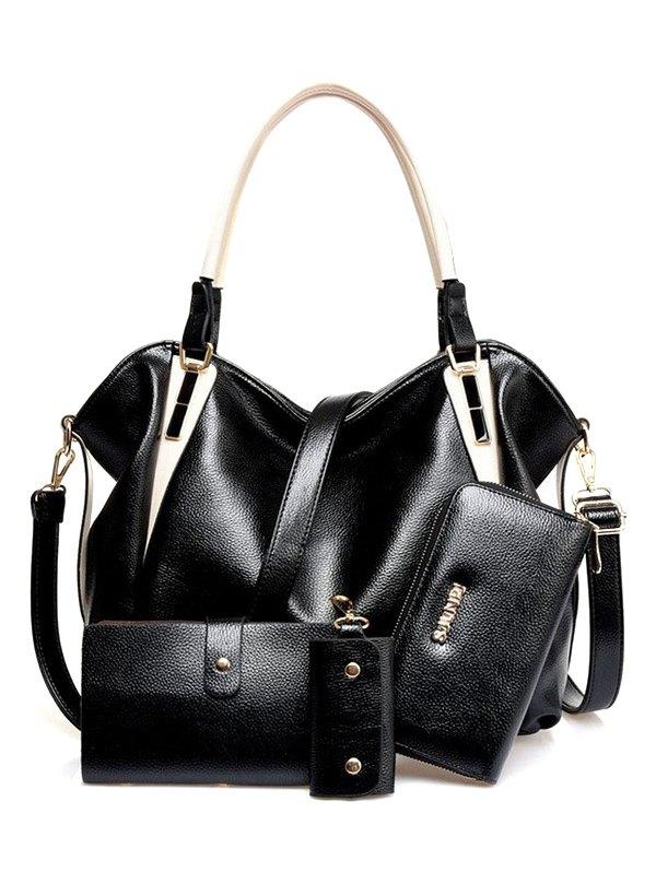 PU Leather Metal Shoulder Bag