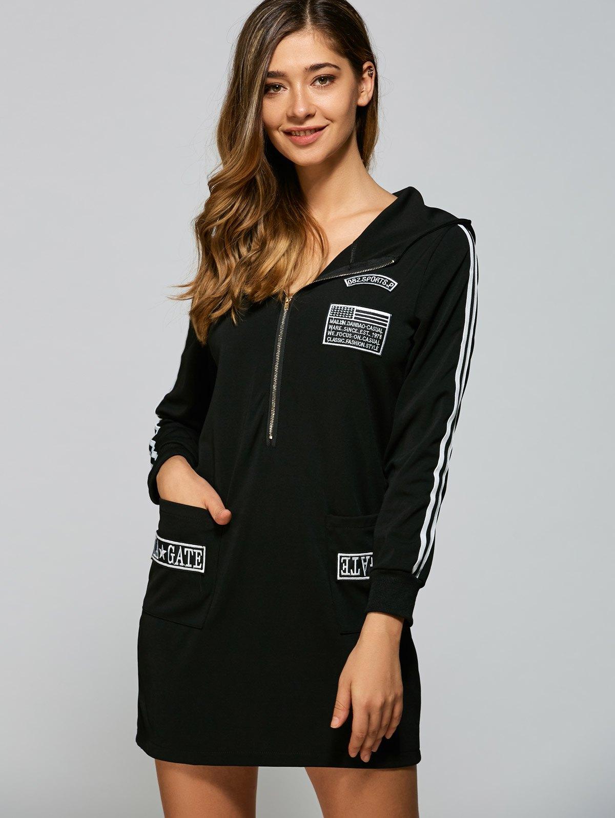 Zipper Hoodie Dress With Pockets