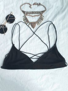3/4 Cup Criss-Cross Strappy Bra - Black 2xl