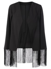 Fringe Asymmetric Cape Blazer - Black