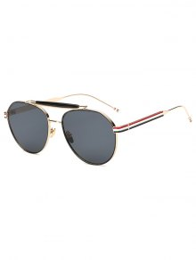 Crossbar Striped Leg Pilot Sunglasses - Golden