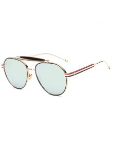 Crossbar Striped Leg Pilot Mirror Sunglasses - Grey Blue
