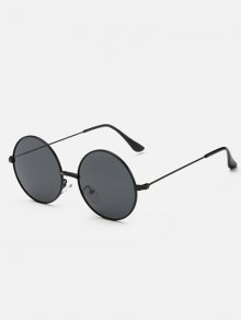 Slim Leg Metal Round Sunglasses - Black