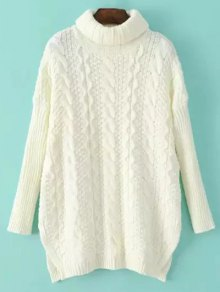 Side Split Turtle Neck Cable Knit Sweater