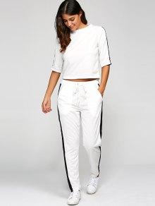 1/2 De La Manga De La Camiseta + Pantalones - Blanco S