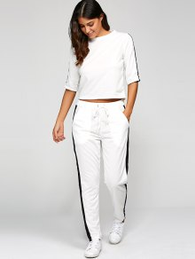1/2 Sleeve T Shirt + Pants - White M