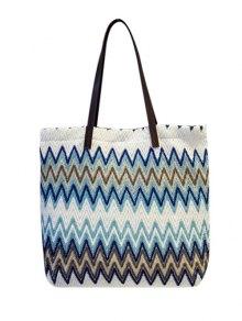 Zigzag Pattern Colour Block Splicing Shoulder Bag - Blue
