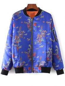 Printed Zippered Padded Jacket